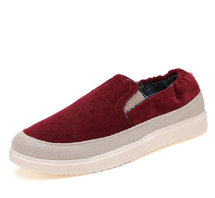 新款帆布鞋灯芯绒舒适棉麻一脚蹬男款式平跟低帮布鞋懒人鞋 男鞋
