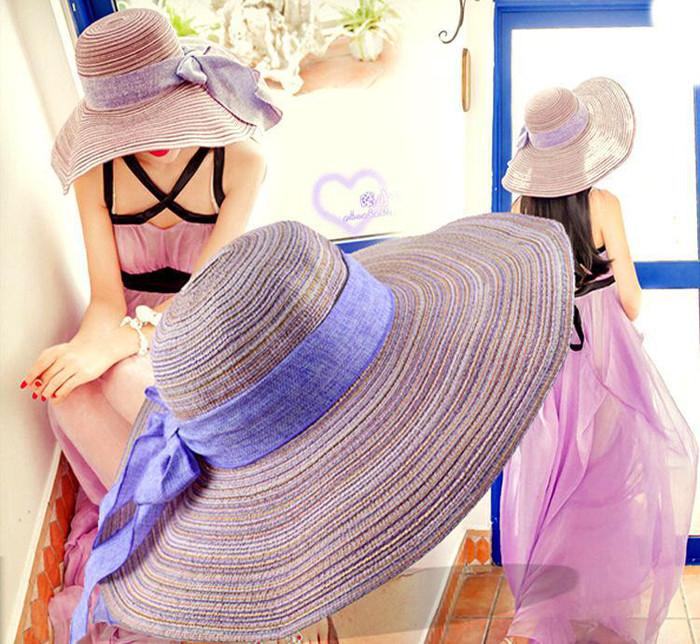韩版夏季遮阳帽棉麻蝴蝶结大檐 草帽沙滩帽可折叠休闲时尚 帽子