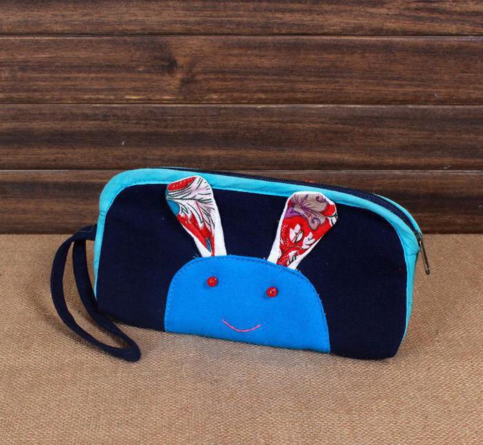 棉麻手工布艺钱包 撞色兔兔长款钱包 零钱包 手机包 多色