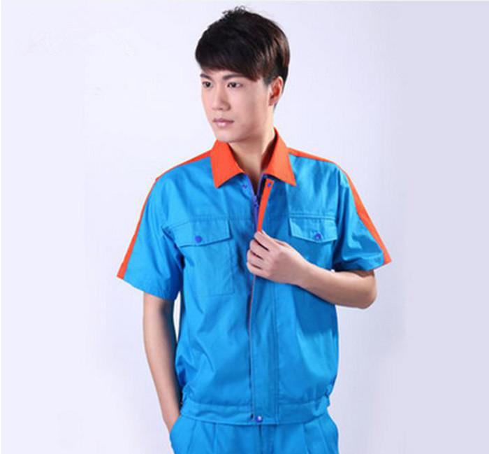 中山劳保服订做夏季短袖劳保工作服套装男女款可定制印绣logo