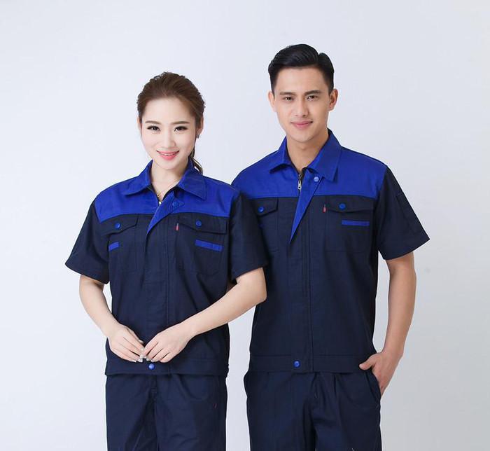 夏季短袖工作服 工厂车间半袖工装劳保服夏装户外工程服定做