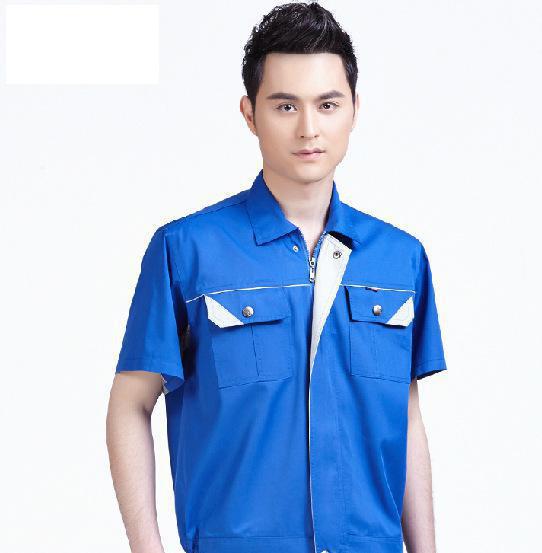 2015新款工作服厂服 劳保服套装定做 夏季短袖工装直销