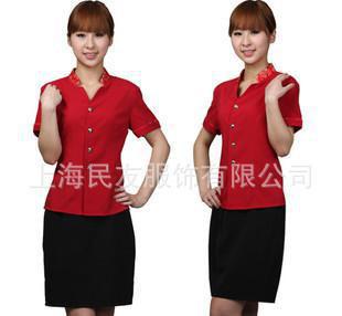 酒店工作服夏装 前台女服务员职业套装 饭店西餐厅工作服229
