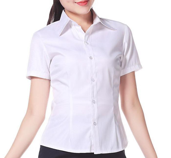春夏新款OL通勤修身纯色职业装短衬衣 白领工作服职业女衬衫上