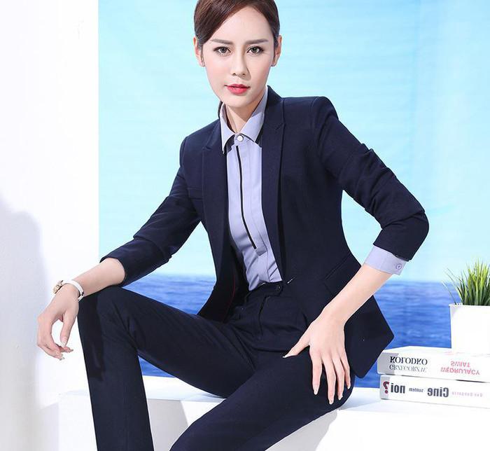 条纹OL职业女套装女装长袖西装套裙女士正装商务酒店制服工作服