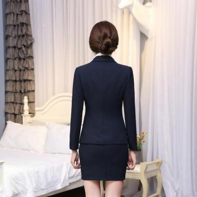 招代理职业装女装套装藏蓝色西装长袖OL修身女士工作服 定制