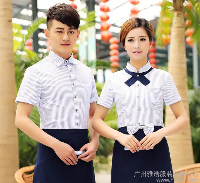 2016新款夏季餐厅酒店西餐厅工作服服务员服装