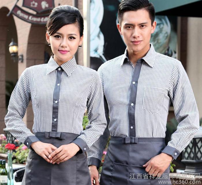 酒店工作服长袖火锅店服务员工装制服春秋餐厅男女 定做