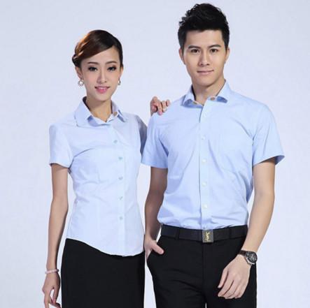 厂家货源定做logo男女工作服职业装修身短袖小方领衬衫