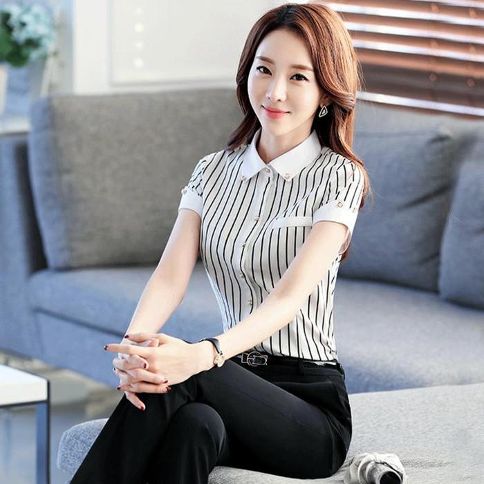 代理加盟韩版职业装衬衫修身条纹衬衣ogo定制酒店工作服女