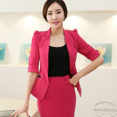 代理加盟OL女士正装韩版西装短袖工作服商务工装职业装