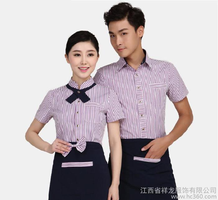 服务员工作服短袖 夏装男女酒店餐饮火锅店餐厅衬衫制服