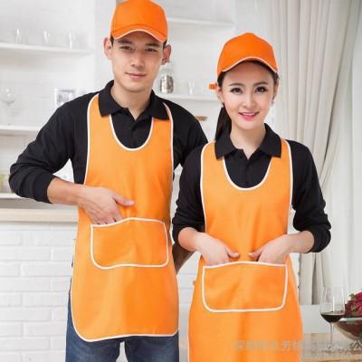 定制做韩国版棉可印绣logo字工作服围裙咖啡师餐厅鲜花美甲