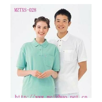 男女士翻领纯色短袖T恤衫 定制工作服 刺绣丝印广告T恤衫