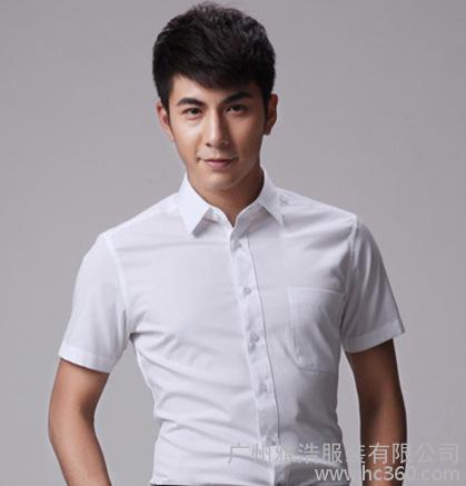 直销新款男士纯色商务短袖衬衣 职业白领装工作服衬衫