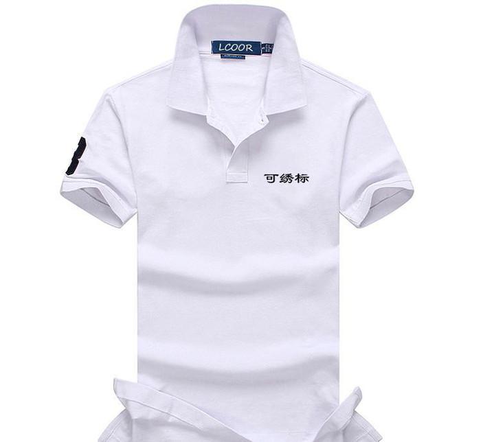 夏季新款纯棉短袖男式潮流工作服纯色珠地棉翻领polo衫定做订