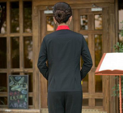 酒店工作服长袖 餐厅服务员服装 男女秋冬饭店 快餐店制服