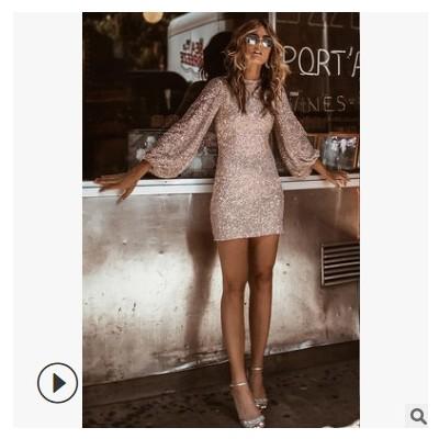 2019欧美外贸新款女装连衣裙 wish亚马逊圆领长袖修身铅笔裙