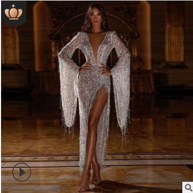 2020欧美外贸新款女装亚马逊ebay性感流苏深V透视连衣裙