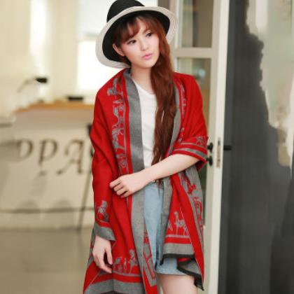 厂家直销新款时尚日韩风情高速机马车披肩加长空调经编围巾女