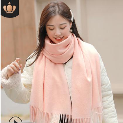 围巾女冬季韩版百搭两用双面纯色披肩仿羊绒长款加厚保暖围脖秋冬