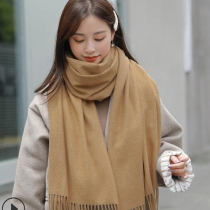 秋冬加厚双面仿羊绒围巾披肩女韩版百搭长款保暖围巾纯色流苏新款