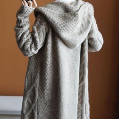 现货chic爆款韩国毛衣外套女中长款慵懒风宽松开衫麻花粗毛衣外套