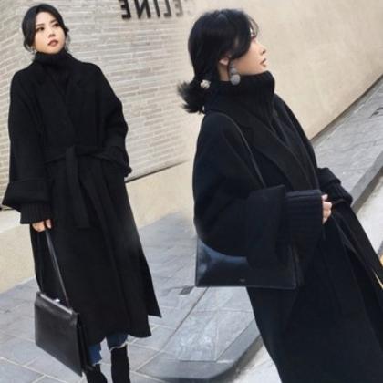 黑色毛呢外套女2020秋冬季长款过膝系带廓形双面羊绒手工呢子大衣