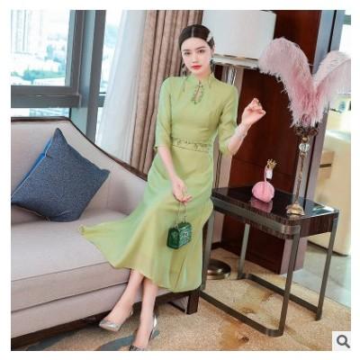 2021早春新款中式旗袍改良轻奢设计感裙子气质复古连衣裙一件代发