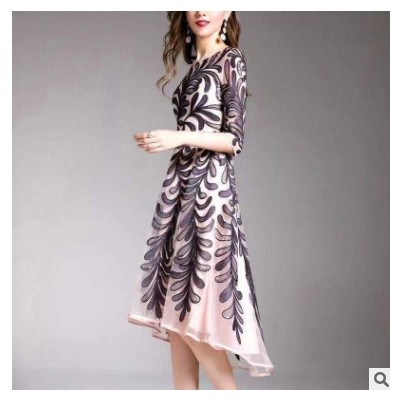 2020秋冬新款打底连衣裙女婚宴时尚搭配中年妈妈装女裙子一件代发