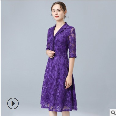 招商加盟V领连衣裙 2021春季重工刺绣新款紫色年轻婆婆妈妈装裙子