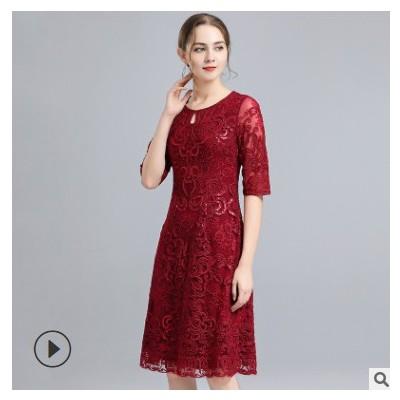 2021春季婚宴中年大码女装高端刺绣连衣裙收腰妈妈婚庆礼服女批发