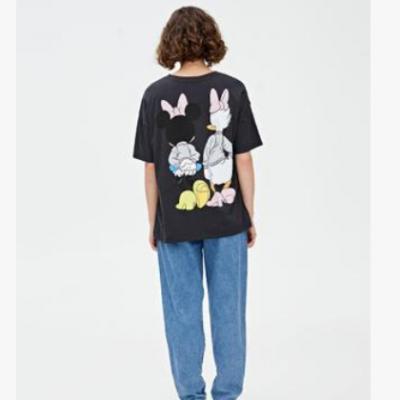 2020春夏新款女装米奇与米妮印花T恤女韩版百搭短袖潮0924338