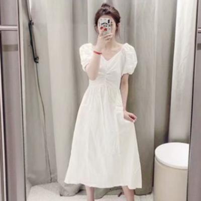 COS夏季新品女装显瘦简约泡泡袖V领连衣裙WH22S7AN2006