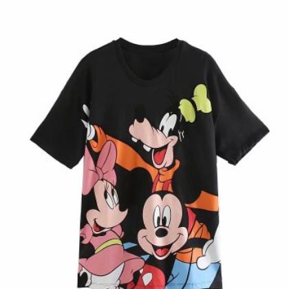0264932 女装2020春季卡通米老鼠和朋友印花短袖T恤女00264932800