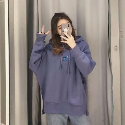 2020春装新款史迪仔卡通连帽刺绣宽松紫色卫衣0834273