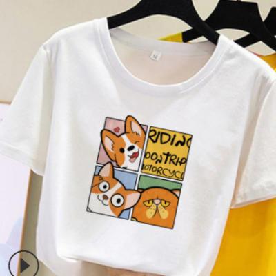 外贸批发2021新款夏季卡通印花上衣短袖t恤女韩版宽松大码女装潮