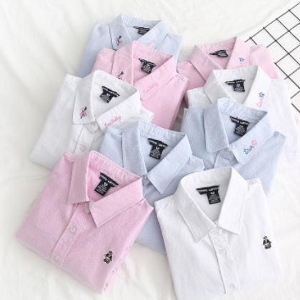 厂家直销 秋季绣花小清新纯色长袖衬衫女 全棉百搭打底衬衣白衬衫
