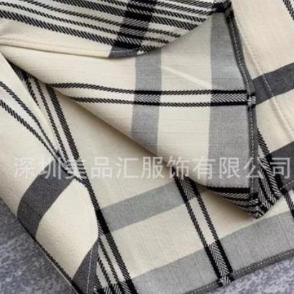 色织面料对格对条~客供真丝混纺料提花格纹衬衣敞开当外披也很棒