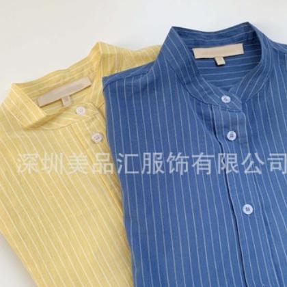 法国小众VB慵懒男友风客供纯棉色织条纹廓形衬衫