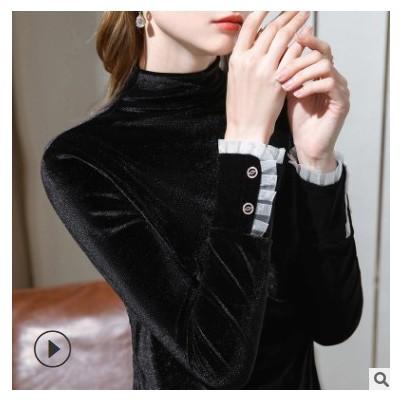 半高领丝绒打底衫女2020秋冬内搭长袖t恤洋气小衫加绒保暖打底衣