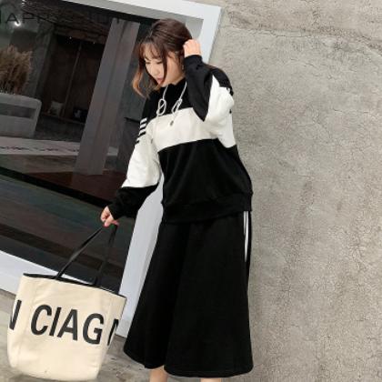 套装女 2021春季新款韩版时尚毛圈显瘦大码女装运动风卫衣+半身裙