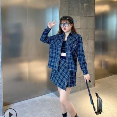 明星同款 2021春夏新款大码女装绑带格子半身裙+连帽衬衫N7491-1