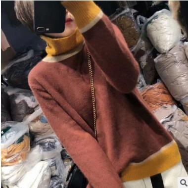 羊毛混纺2021春季女装新款高领韩版宽松大码慵懒风打底衫套头毛衣