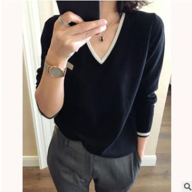 棉混纺薄2021春季女装新款韩版短款V领修身显瘦纯色针织打底毛衣