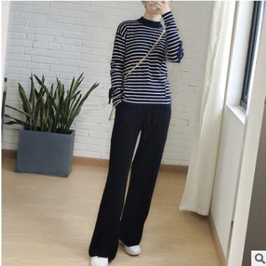 羊毛2021春季女装新韩版针织阔腿裤休闲宽松羊毛长裤松紧高腰裤子
