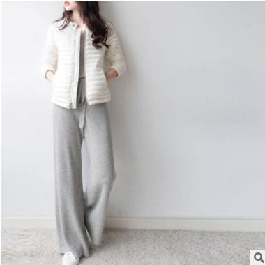 羊毛混纺2021春季女装阔腿裤外穿针织系带松紧高腰直筒裤休闲长裤