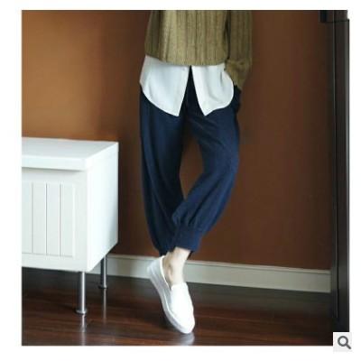 羊毛混纺2021春季女装灯笼裤针织休闲运动收口宽松哈伦裤外穿长裤
