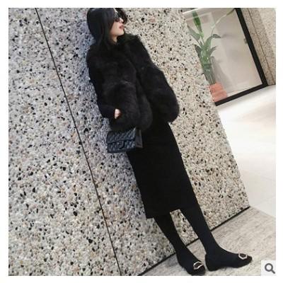 2021春季女装高领毛衣韩版中长款过膝毛衣裙打底针织弹力连衣裙
