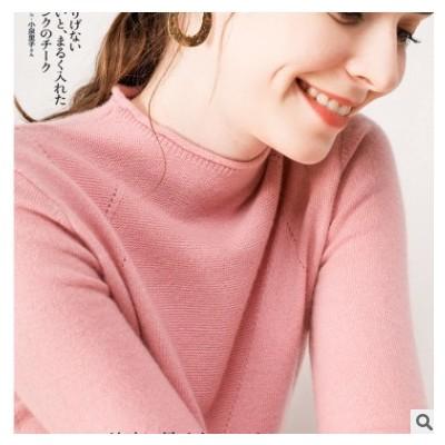 混纺棉2021春季女装新款半高领短款套头修身韩版纯色针织打底毛衣